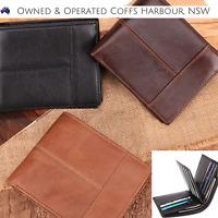New Leather Credit Card Holder Mens Money Cash Black Wallet  RFID Blocking Purse