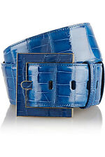New Oscar de la Renta Alligator Crocodile Waist Belt Blue Small S Medium