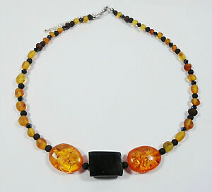 AMBER  JET LAVA STONE NECKLACE  ENERGY CLEARING AUSTRALIAN MADE
