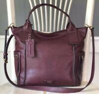 FOSSIL EMERSON Large Wine Raisin Soft Leather Satchel Tote Purse Crossbody Bag