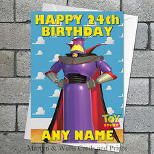 Toy Story birthday card: Emperor Zurg. 5x7 inches. Personalised, plus envelope.
