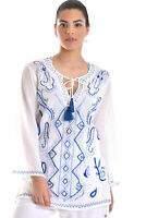 Azucar Ladies Cotton Embroidered Summer Beach Long Sleeve Tunic Blouse - LCB866