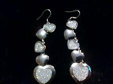 CASCADING HEART SILVER EARRINGS DIAMOND CUT/ SATIN 3 INCH DANGLE