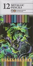 Pack Of 12 Intense Colour Metallic Artist Colouring Pencils Assorted Colours