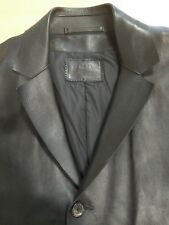 PRADA Men's Black Leather Coat Size 48 Ref. 112