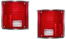 Chrome Tail Lights Lens Pair For Chevy GMC Truck 73-87 Suburban Blazer 73-91