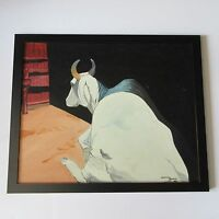 aNDREW bOWEN PAINTING SIGNED VINTAGE MODERNIST LEANING COMPOSITION BARN FARM