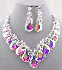 AB Crystal Tear Round Rhinestone Necklace Set Silver Fashion Jewelry NEW