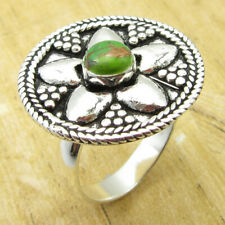 925 Silver Overlay ROUND Green Copper Turquoise ROYAL Ring Size 9.75 ! Low Price