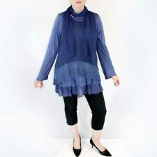 NEW Jessica Taylor Plus Denim Blue Lace Overlay Sheer Scarf Tunic Blouse 3X