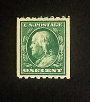 US Stamps, Scott #390 1c XF M/NH 1910 Franklin, large coil Perf 8 1/2 Horizontal