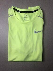 NWT Men's Nike TechKnit Ultra Short Sleeve Running Top. Volt. AJ7615-702. Sz MED