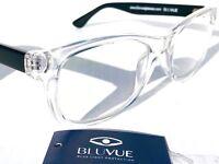 BLUE LIGHT Blocking FASHION Reader Computer Gaming Glasses SLATED Crystal Black