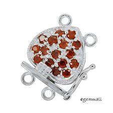 Fine Sterling Silver 2-Strand Pearl Heart Box Clasp with CZ Garnet #51133