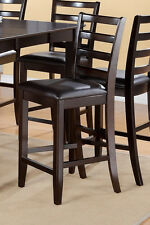 Set of 2 Fairwinds counter height bar stool chairs faux leather seat cappuccino