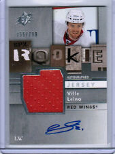 09/10 UD SPX VILLE LEINO #163 ROOKIE JERSEY AUTO RC 755/799 DETROIT RED WINGS