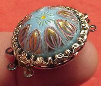 Vintage 19mm Round Necklace Clasp Connector 2 Str Basket Blue Mosaic Venetian