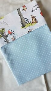 Handmade Blue Spotted Cotton Small Baby C/MB Sheet- WINNIE THE POOH Top Edge.