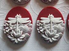 White Dragonfly & Lotus Flowers Ruby Red Cameo - 40X30mm Resin Cabochons Qty 6