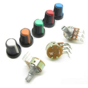 10PCS Rotary Potentiometer Panel Pot with Switch Right Angle 3 Pin + Knob Cap
