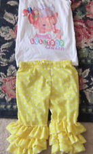 Boutique Lollipop Queen tank top shirt ruffle yellow polka dot shorts 5 6 girls