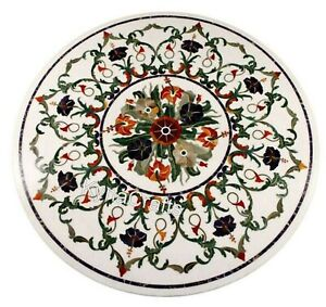 30 Inch Marble Coffee Table Top Multi Color Stones Inlay Center Table for Home