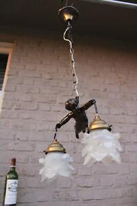 Antique French bronze putti cherub lamp chandelier pendant light glass shades