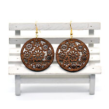 Pair of Brown Wooden Round Flowers Earrings 4cm - Ethnic African Style Jewellery