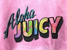 Juicy Couture XL Pink ALOHA Velour Track Suit 2pc Set Zip Hoodie + Pants Bling