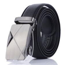 Stylish Men Automatic Buckle Belt Black Leather Belts Ratchet Waistband Leisure