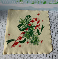 """1 Vintage 1920's Christmas Peppermint Candy Cane Crepe Paper Napkin 9x9"""" in NOS"""