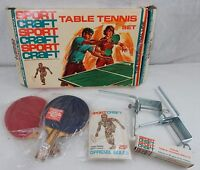 Vintage Sportcraft - Ping Pong / Table Tennis Set w 2 Paddles Clamp & 1 Ball BOX