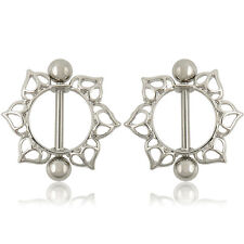 Pair Flower Nipple Shield Bar Ring Body Jewellery Nipple Piercing 14g