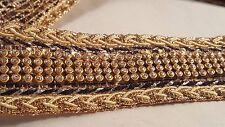 3.5cm - 1 metros de oro antiguo elegante y cinta Diamante Negro con cuentas de encaje de corte