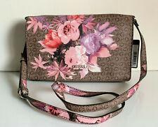 NEW! GUESS ASHVILLE BROWN FLORAL FLAP CROSSBODY MESSENGER SLING BAG PURSE SALE