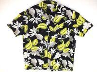 GEORGE, Men's Hawaiian Short Sleeve Shirt, Color: Black, Size: XL/46-48