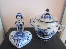 RARE!! - HAND MADE in Russia - Porcelain Teapot Blue & Floral w/Angel & Dish