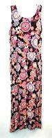 Art Class Women's Sleeveless Dress Floral Summer BOHO Hi-Low Black Lined Size XL