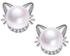 Women Real 925 Sterling Silver Cat Stud Pearl Smal Earrings Black White Yellow