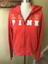Victoria's Secret Love Pink L Large Orange Zip Up Hoodie Jacket Sparkle Glitter