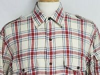 Orvis Mens sz L Red Blue Striped Linen Roll Up Long Sleeve Button Front Shirt