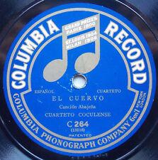CUARTETO COCULENSE Columbia C 264 El Cuervo - El Tejón RARE MEXICAN 78 RPM