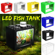❤ Mini Clear LED Fish Tank Goldfish Betta Building Block Ornament Aquarium Decor