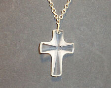 """1960s / 1970s Clear & Frosted Lucite Cross on 24"""" Goldtone Chain - Sarah Cov Tag"""