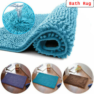 Bath Mat Shaggy Microfiber Soft Bathroom Shower Rug Non-Slip Backing 10 Colours