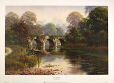 """Spencer Coleman """"farniente des jours d'été"""" pont fleuve imprimer! taille:40 cm x 60 cm rare"""