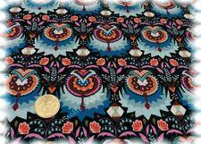 Volga Folk Sweatshirtstoff schwarz blau Hilco Sweaty Blumen dehnbar 25 cm