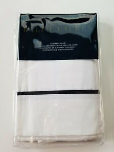 RALPH LAUREN PALMER PERCALE WHITE w MIDNIGHT BLACK PIPPING ONE EURO PILLOW SHAM