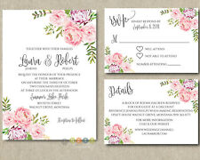 Personalized Peony Floral Wedding Invitations Suite with Envelopes