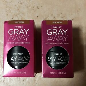 SET OF 2- EVERPRO GRAY AWAY ROOT TOUCH-UP MAGNETIC POWDER LIGHT BROWN, NIB